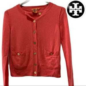 Tory Burch Orange Pink Cashmere Sweater XS Top